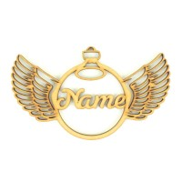 Laser Cut Personalised Detailed Angel Wings Christmas Bauble - 150mm Size