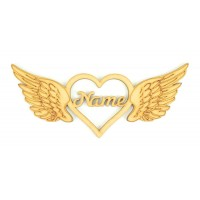 Laser Cut Personalised Heart with Detailed Angel Wings - 200mm Size