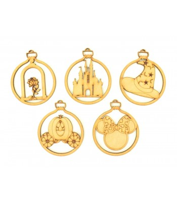 Laser Cut Magic Castle Christmas Baubles - Set of 5