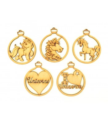 Laser Cut Unicorn Christmas Baubles - Set of 5