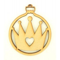 Laser Cut Princess Crown Christmas Bauble