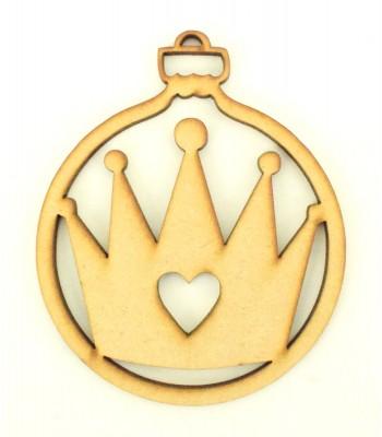 Laser Cut Princess Crown Christmas Bauble