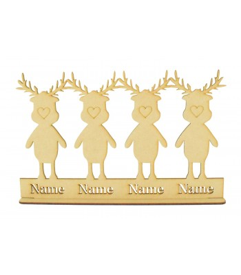 Laser Cut Personalised Christmas Reindeer Family on a Plinth and Stand - Budget 3mm Design - Stencil Names