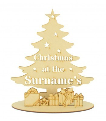 Laser Cut Personalised 'Christmas at the...' Stencil Tree with Presents in a Stand