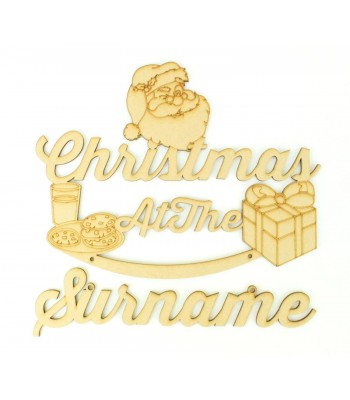 Laser Cut Personalised 'Christmas At The...' Sign with Hanging Surname