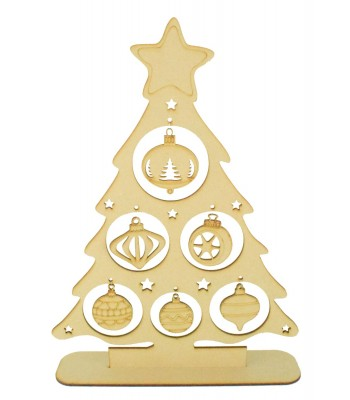 Laser Cut Christmas Tree on a stand with Hanging Bauble Decorations