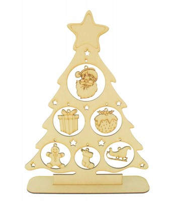 Laser Cut Christmas Tree on a stand with Hanging Christmas Shape Decorations
