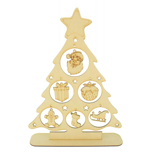 Christmas Shapes.Laser Cut Christmas Tree On A Stand With Hanging Christmas Shape Decorations
