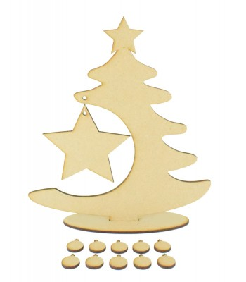 Laser Cut Christmas Tree on a stand with Hanging Star and 10 small Baubles