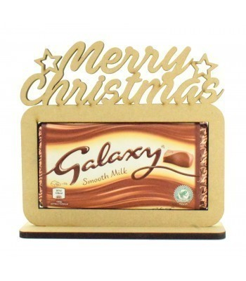 6mm 'Merry Christmas' Galaxy Chocolate Bar Holder on a Stand