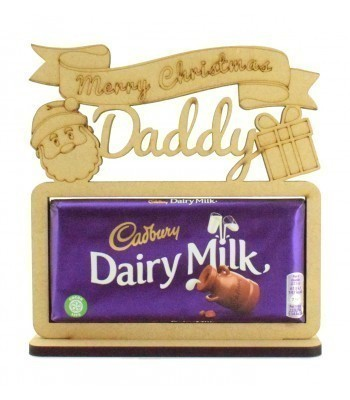 6mm Personalised 'Merry Christmas' Cadbury Dairy Milk Chocolate Bar Holder on a Stand - Family Name Options