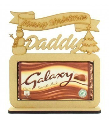 6mm Personalised 'Merry Christmas' Galaxy Chocolate Bar Holder on a Stand - Family Name Options