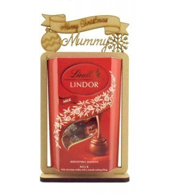 6mm Personalised 'Merry Christmas' Lindt Lindor Chocolate Box Holder on a Stand - Family Name Options