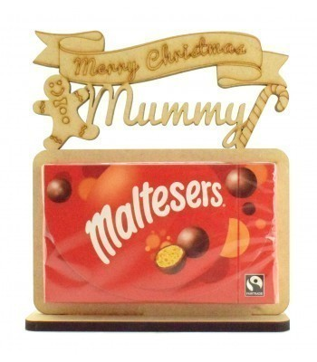 6mm Personalised 'Merry Christmas' Maltesers Box of Chocolates Holder on a Stand - Family Name Options