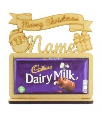 6mm Personalised 'Merry Christmas' Cadbury Dairy Milk Chocolate Bar Holder on a Stand