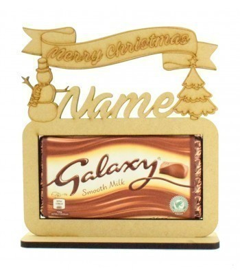 6mm Personalised 'Merry Christmas' Galaxy Chocolate Bar Holder on a Stand