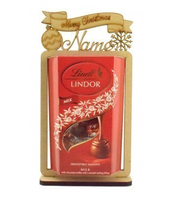 6mm Personalised 'Merry Christmas' Lindt Lindor Chocolate Box Holder on a Stand