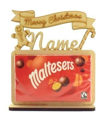 6mm Personalised 'Merry Christmas' Maltesers Box of Chocolates Holder on a Stand