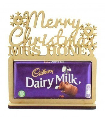 6mm Personalised 'Merry Christmas' Teachers Cadbury Dairy Milk Chocolate Bar Holder on a Stand
