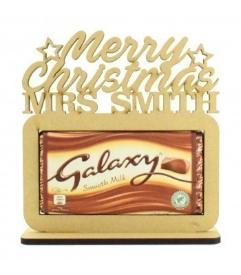 6mm Personalised 'Merry Christmas' Teachers Galaxy Chocolate Bar Holder on a Stand