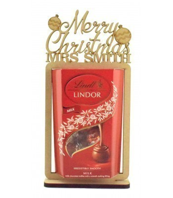 6mm Personalised 'Merry Christmas' Teachers Lindt Lindor Chocolate Box Holder on a Stand