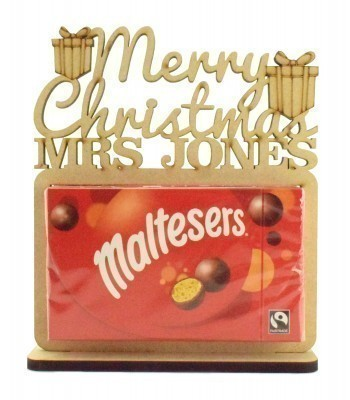 6mm Personalised 'Merry Christmas' Teachers Maltesers Box of Chocolates Holder on a Stand