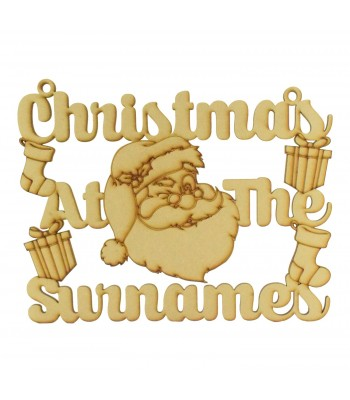 Laser Cut Personalised 'Christmas At The...' Santa Head Sign - Size Options