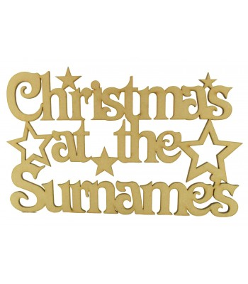 Laser Cut Personalised 'Christmas At The...' Sign with Stars (Vic Font) - Size Options