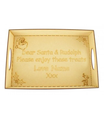 Laser Cut Personalised 'Dear Santa & Rudolph...' Christmas Eve Tray