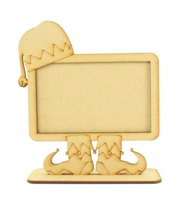 Laser Cut Elf Chalk Board or Photo Frame Design on a Stand