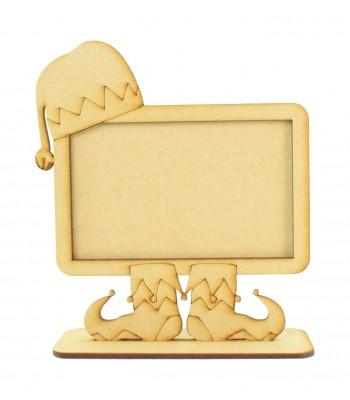 Laser Cut Elf Chalk Board or Photo Frame Design on a Stand