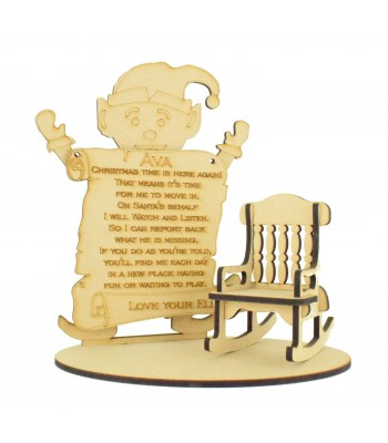 Laser cut 6mm Elf with Hanging Personalised Plaque and Plain Rocking Chair on a Base
