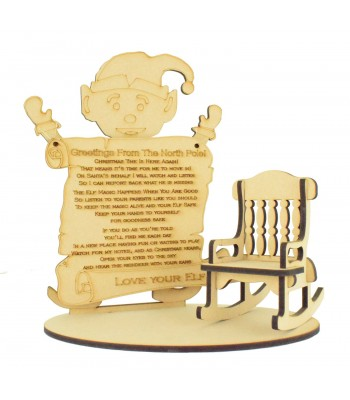Laser cut 6mm Elf with Hanging Plaque and Plain Rocking Chair on a Base
