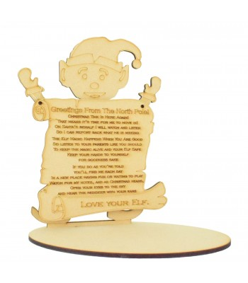 Laser cut 6mm Elf with Hanging Plaque on a Base