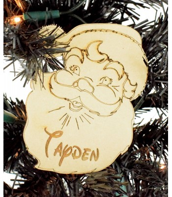 Laser Cut Engraved Personalised Christmas Santa Head Decoration - 100mm Size