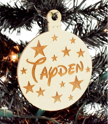 Laser Cut Engraved Personalised Christmas Bauble with Stars - 100mm Size