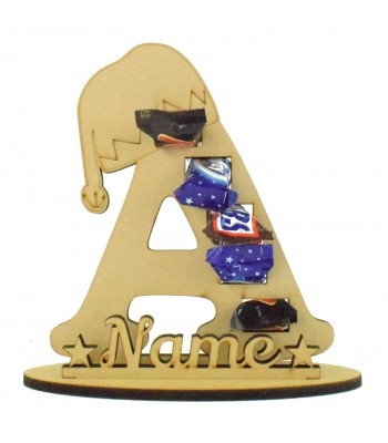 6mm Personalised Elf Hat Letter Mini Chocolate Bar Holder on a Stand - Stand Options