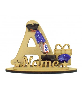 6mm Personalised Present Letter Mini Chocolate Bar Holder on a Stand - Stand Options
