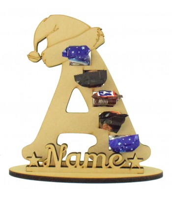 6mm Personalised Santa Hat Letter Mini Chocolate Bar Holder on a Stand - Stand Options