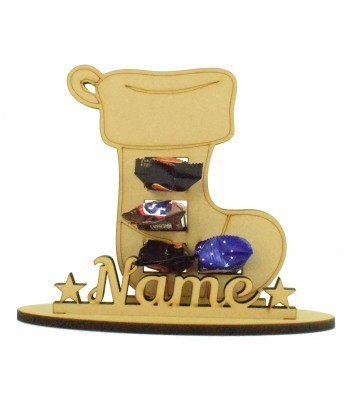 6mm Stocking Shape Mini Chocolate Bar Holder on a Stand - Stand Options
