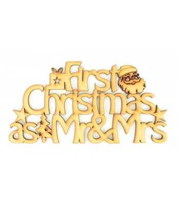 Laser cut 'First Christmas as Mr & Mrs' Santa sign.