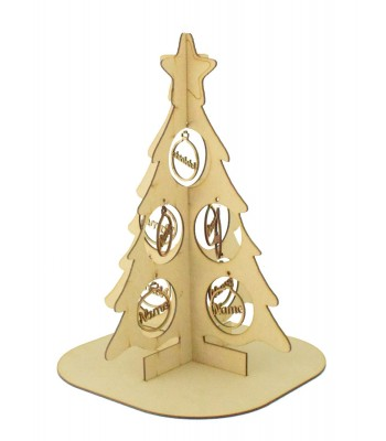 Laser Cut Double Family Christmas Tree on a stand with Personalised Bauble Decorations - 1-9 names