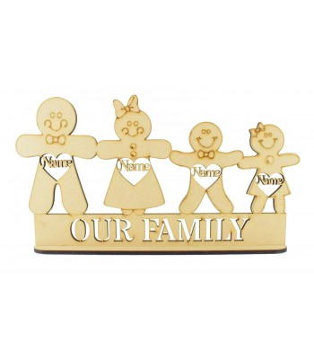 Laser Cut Personalised Christmas Gingerbread Family on a Stand - 6mm