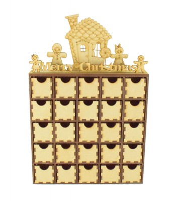 Laser Cut Gingerbread Scene Advent Calendar Drawers - 25 Drawers