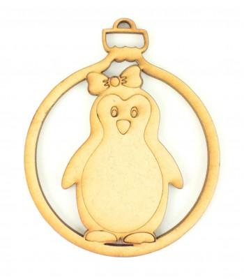 Laser Cut Girl Penguin Christmas Bauble