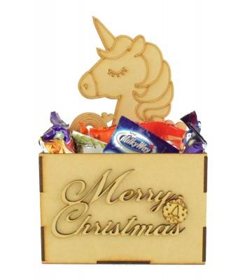 Laser Cut Christmas Hamper Treat Boxes - Unicorn Shape