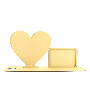 Laser Cut Plain Heart Plaque in a Tealight Stand with Photo Frame