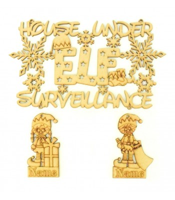 Laser cut Personalised 'House under Elf surveillance' Quote Sign with Elf Decorations