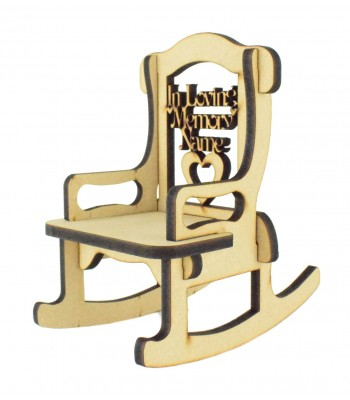 Laser cut 6mm Personalised 'In Loving Memory' Rocking Chair