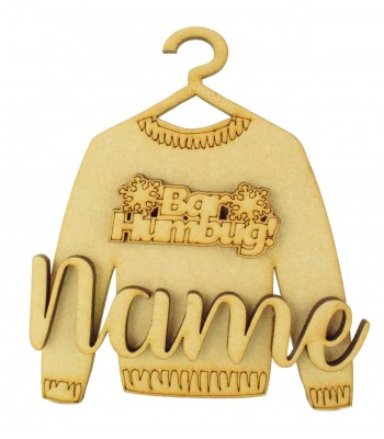 Laser Cut Personalised 3D Christmas Jumper Decoration - Bar Humbug